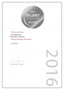 certificato decanter barbaresco 2012
